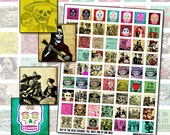 Day of the Dead game piece digital collage sheet for jewelry 25.4mm x 25.4mm 1 inch square inchies