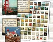 San Francisco Quotes and Photography Scrabble sheet .75 x .83 digital collage sheet California city blue red teal quotes poetry 19mm x 21mm
