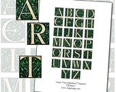 "Green Vines Alphabet Capital Letters 25mm square 1x1 1"" inchies digital collage sheet 1600's 25.4mm"
