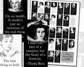 Classic Black & White Movie Stars Quotes Domino Digital Collage Sheet 1x2 Mae West Joan Crawford