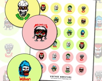 Vintage 60s Monsters 1.5 inch circles digital collage sheet for buttons badges cyclops skull skeleton pink yellow green