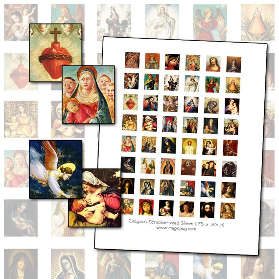 Medieval & Renaissance Catholic Religious Paintings Scrabble digital collage sheet .75 x .83 inches 19mm x 21mm sacred heart angel madonna