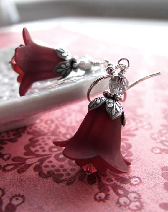 Dark Burgundy Red Flower Earrings with Antiqued Silver - Dark Blood Red Scarlet Bridesmaid Earrings, Christmas Jewelry, Holiday Earrings