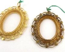 Italian Silver Gold Filigree Pendant Setting Necklace // Gold Pendant Setting  // Oval Stone Setting // 24 x 17 mm stone Setting // 19335-G
