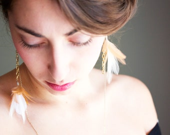 White and Gold Dangle Feather Earrings - Long Feather Earrings