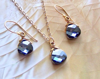 Bridal Jewelry Set, Necklace Earrings Set, Custom Swarovski Crystal, Choose Your Stone Color, Wedding Jewelry, Bridesmaids Gift, Proms