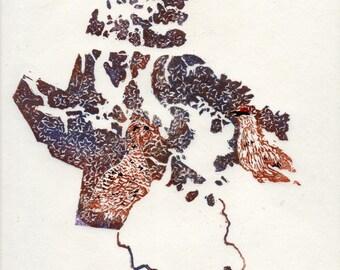 Nunavut, rock ptarmigan and purple saxifrage linocut - Lino Block Print Maps of Canadian Provinces & Territories with Symbols - Arctic