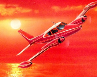 1958 CESSNA 310 B Vintage ORIGINAL PAINTING 16x20  Original Ad Illustration for Cessna - Mid Century Modern Art Deco Airplane Travel