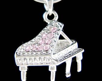 Swarovski Crystal Purple MUSIC Baby Grand Piano Musical Instrument Pendant charm Music Necklace Musician Christmas Gift New