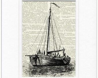 vintage sail boat I print