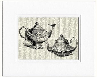 teapot with bird dictionary page print