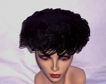 Macys Straw Hat / Black Ribbon Loops / Netting / Vintage / Pillbox Hat / 1950s Mid-Century
