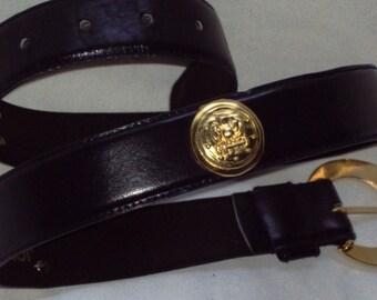 Womans Belt Sz Medium Classic Jones New York Belt Black Leather  Vintage 1990s