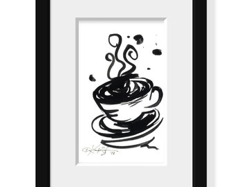 Brushstroke Coffee Cup ... Series No.6 ... Original Abstract Minimalist  Painting by Kathy Morton Stanion EBSQ