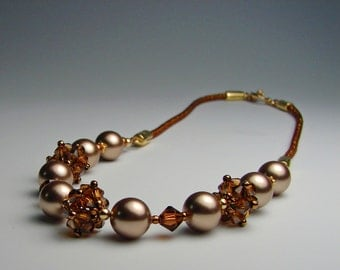 Crystal Pearl Necklace Copper Bronze Brown Gold Necklace Beaded Bridal Bridesmaid
