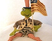 Primitive E- Pattern  Patriotic Americana Folk Art  Frog  Doll Decoration