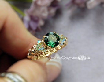 Green Quartz CZ Wire Wrapped Ring Handmade Signature Design Marcella Ring Fine Jewelry Wire Wrapped Green Quartz