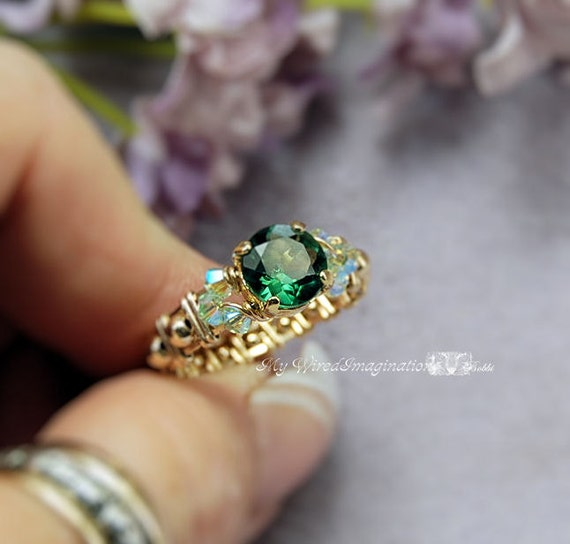 Last One Green Quartz Cz Wire Wrapped Ring Handmade Fine