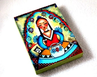 Art Print on Wood Block, Peasant Girl Day of the Dead Art Print, Girl and Cat ACEO ATC Artist Trading Card, Mexican Art, Blue Red Green