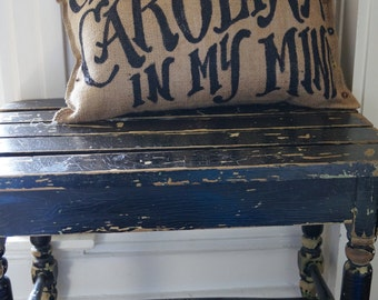Quincy Burlap Pillow - Gone to Carolina in My Mind - song lyric  - custom