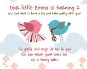 Printable Pink bird custom tutu tie birthday party invitation