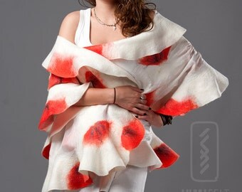 Wavy shawl - Felted wool and silk - Summer Poppies
