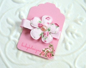 Infant Hair Clips / Baby Hair Clips / Newborn Hair Bow Clips / ONE Petite Shabby Chic Vintage Floral Itty Bitty Hair Clips