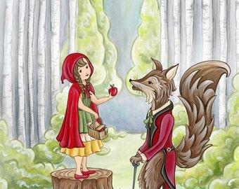 Little Red Ridding Hood Childrens Print Nursery Art Baby Decor