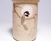 Black Capped Chickadees and Maple Leaf Pottery Utensil Holder and Vase Limited Series 22 (narrow)