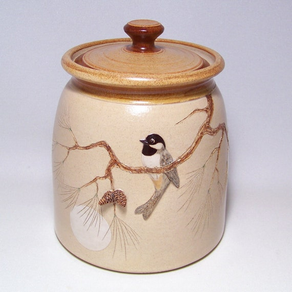 RESERVED FOR CLARK Black Capped Chickadee and Pine cones Pottery 3 qt Jar Limited Series 242