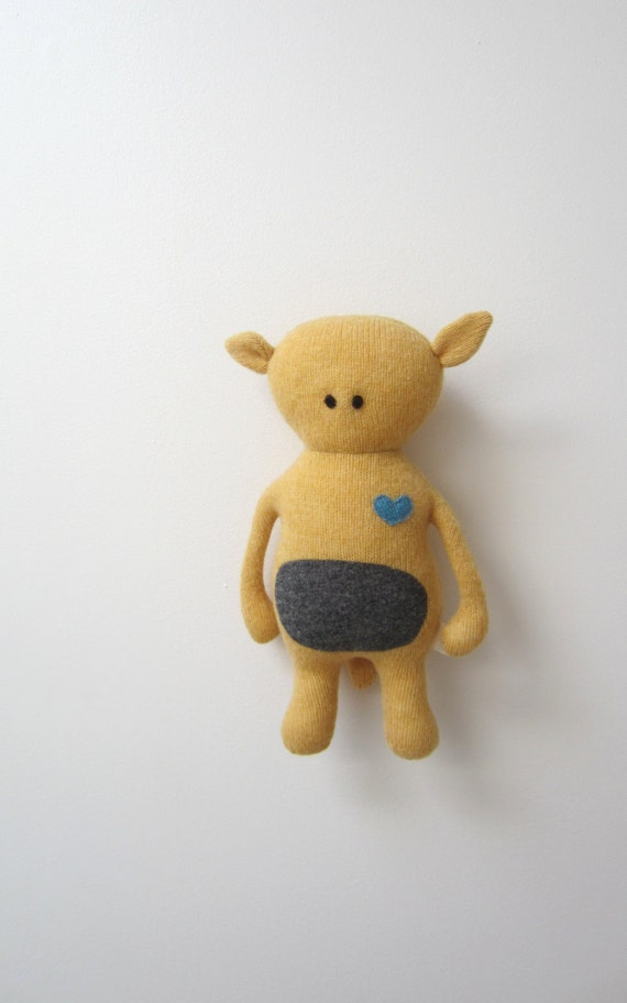 Critter Doll Bearish OOAK Upcycled wool sweater unique warm yellow grey bear like Retro collectors item eco friendly