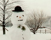 SNOWMAN Enjoying a Cold Day - BLANK 5 X 7 Winter NOTECARD frameable Art Photo with Free Origami Crane - Snowy Scene