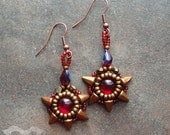Bead Embroidered Cabochon Earrings  - Ruby Spikes