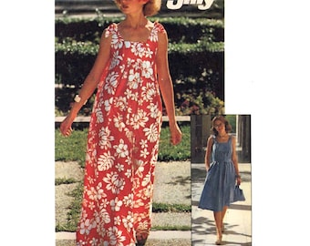 70s Summer Sundress and bag Vintage sewing pattern Simplicity 7520 Sz 8 to 10 UNCUT