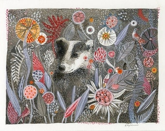 Badger's Dream- Print of original watercolor painting