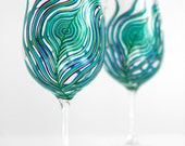 Peacock Feather Wine Glass - Single Hand Painted Peacock Wine Glass - Peacock Wedding
