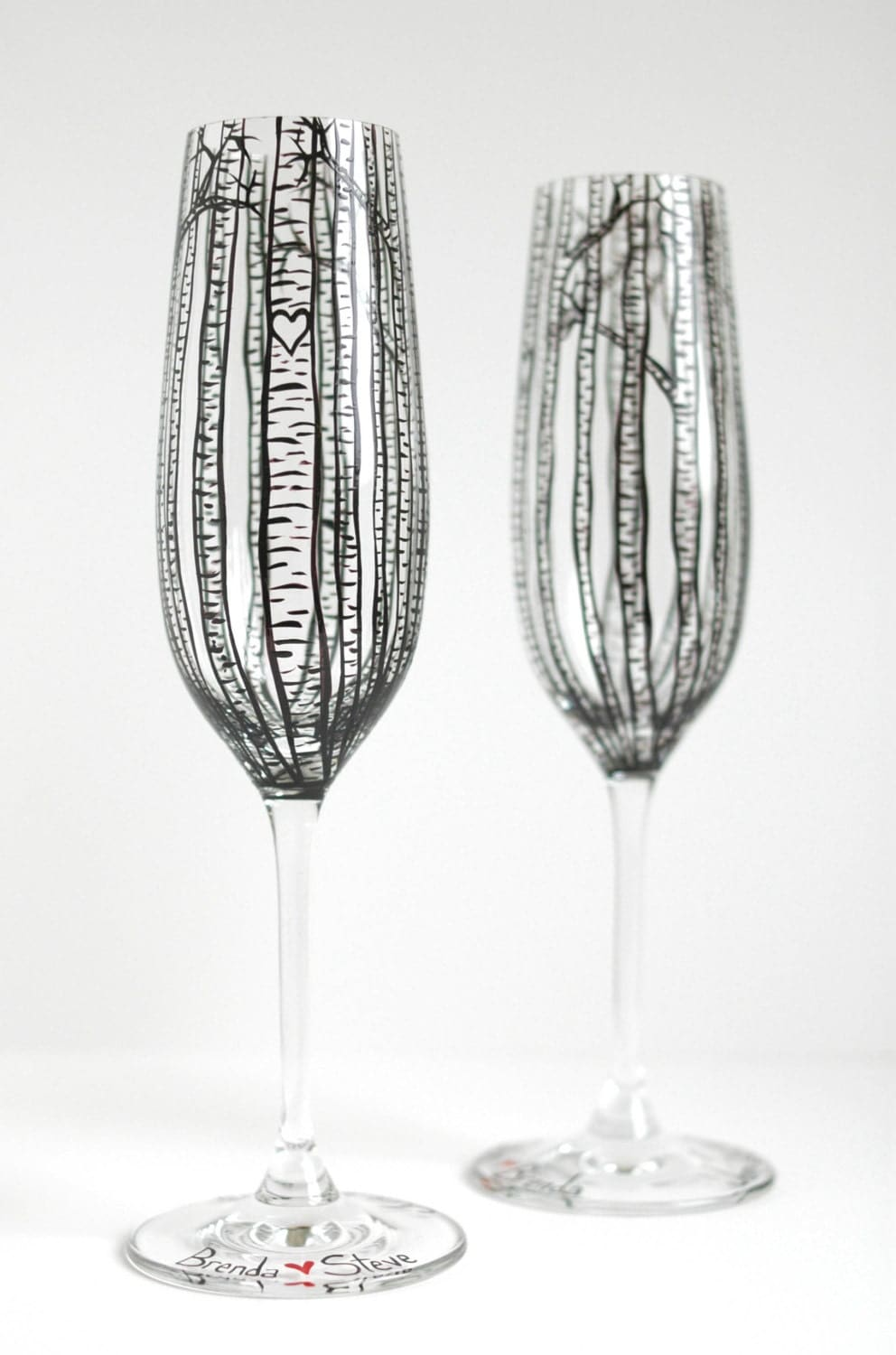 personalized birch tree toasting flutes set of 2 hand