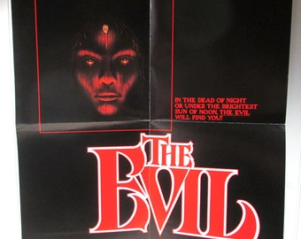 Vintage Book Advertising Poster - The Evil by Hugh B. Cave - Horror Novel Illustrated