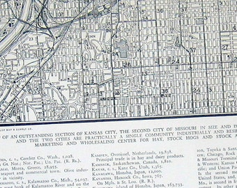 Kansas City, Missouri - City Map - US City - 1942 Vintage Map