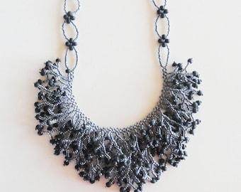 Black lined crystal beadwoven fringe necklace, bling
