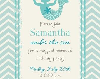 MAGICAL MERMAID in CHEVRON Birthday Invitation (Printable)