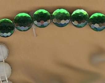 vintage FOIL czech glass beads faceted emerald glass beads EIGHT BEADS two holes on each side, camphor glass matte finish white glass back