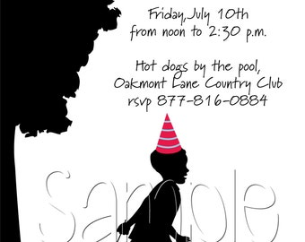 25 5x7 Children's Silhouette Birthday Party Invitations