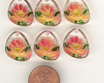 6 Vintage Intaglio Flower Pendants Orange & Yellow Reverse Painted Glass Earring Drops  17mm No.45c