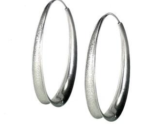 Anticlastic Oval Hoop Earrings in Argentium sterling silver