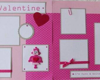 12x12 Premade Scrapbook Pages Layout -- MY VALENTINE -- Girl Robot - Happy Valentine's Day