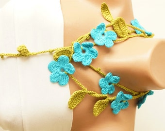 Spring, Moss Green Leaf and Turquoise Blue Flower Cotton Necklace, Scarf, Lariat, Christmas Gift