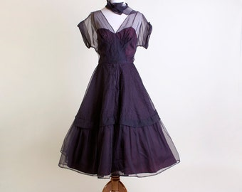 Vintage 1950s Dress - Don Miguel Sheer Pintuck Bombshell Evening Dress - Medium