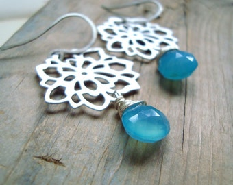 Chrysanthemum Earrings - Silver - Blue Chalcedony, Holiday Jewelry Mothers Day Spring Flower Jewelry Silver Earrings Asian Style