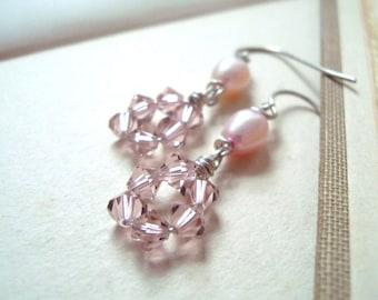 Pastel Pink Crystal Earrings - Rose Petals. Valentines Day Bridal Jewelry Gifts Under 30 Bridesmaid Earrings Bridal Jewelry Swarovski